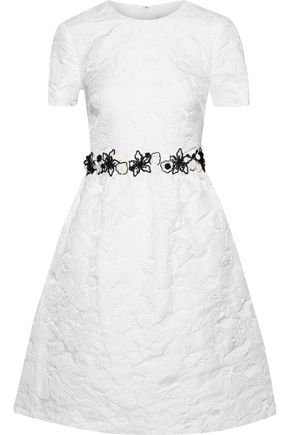 MIKAEL AGHAL Flared floral-appliquéd brocade dress