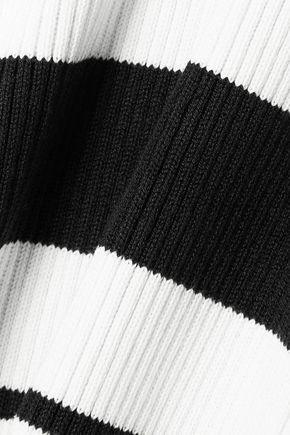 JASON WU Striped ribbed silk-blend midi dress