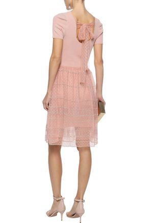RAOUL Layered ribbed cotton-blend and embroidered point d'esprit dress