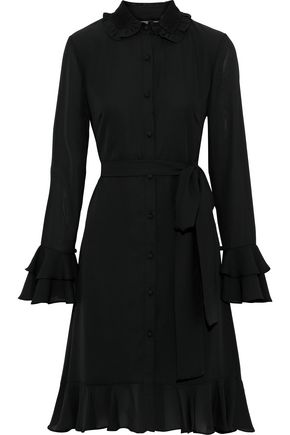 MIKAEL AGHAL Belted ruffled crepe de chine dress