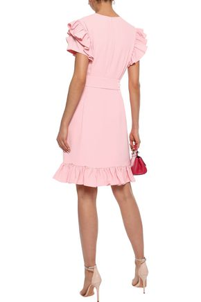 MIKAEL AGHAL Ruffle-trimmed stretch-crepe dress