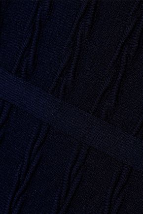 HERVÉ LÉGER Flared cloqué-knit mini dress