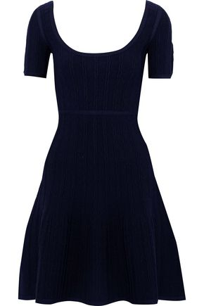 HERVÉ LÉGER Flared cloqué-knit mini dress