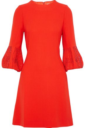 GOAT Bead-embellished wool-crepe mini dress
