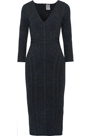 HERVÉ LÉGER Metallic stretch-knit dress