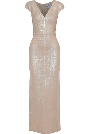 HERVÉ LÉGER Metallic coated bandage gown