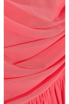 MIKAEL AGHAL One-shoulder gathered chiffon gown