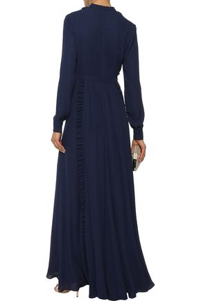 MIKAEL AGHAL Pussy-bow ruffle-trimmed washed-crepe maxi dress