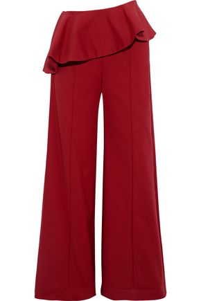 ROSIE ASSOULIN Bearded Iris cotton-blend peplum wide-leg pants