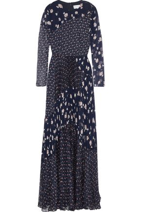 MIKAEL AGHAL Pleated floral-print chiffon and georgette gown