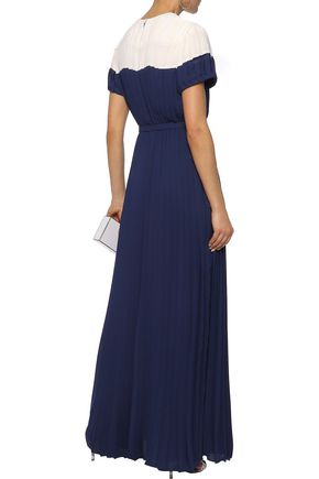 MIKAEL AGHAL Belted pleated two-tone crepe de chine gown