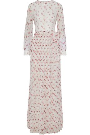 MIKAEL AGHAL Chantilly lace-appliquéd floral-print chiffon maxi dress