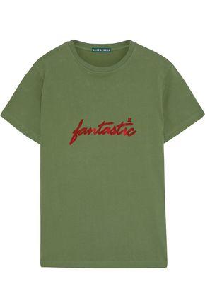 ALEXACHUNG Flocked cotton-jersey T-shirt