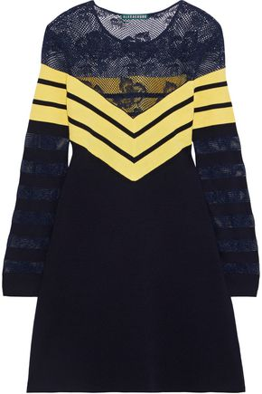 ALEXACHUNG Lace-paneled striped wool-blend mini dress