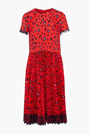 MIKAEL AGHAL Layered pleated leopard-print washed-crepe dress