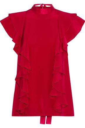 ADAM LIPPES Tie-back ruffled silk-crepe blouse