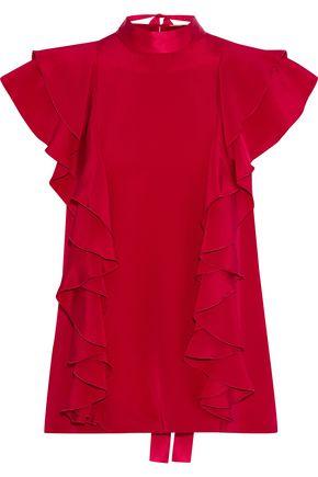 ADAM LIPPES Tie-back ruffled silk-crepe blouse