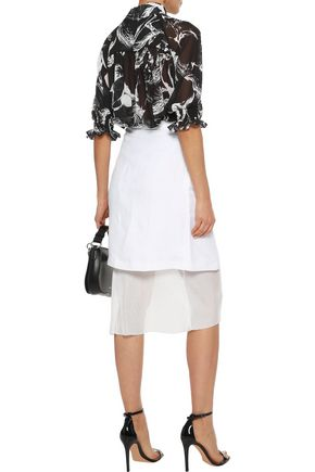 ADAM LIPPES Gathered button-detailed printed chiffon blouse