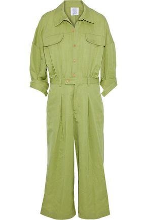 ROSIE ASSOULIN Cropped cotton and ramie-blend jumpsuit