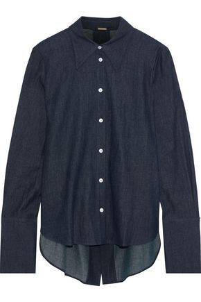 ADAM LIPPES Split-back cotton-chambray shirt