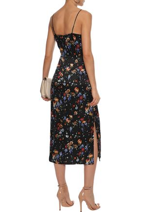 ADAM LIPPES Floral-print hammered silk-satin midi slip dress