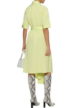ADAM LIPPES Asymmetric pleated cotton-blend moire midi dress