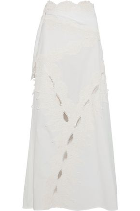 ROSIE ASSOULIN Cut And Paste cutout lace-trimmed cotton-poplin maxi skirt