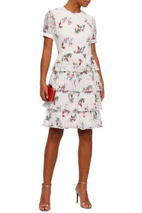 MIKAEL AGHAL Tiered floral-print lace dress