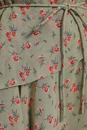 MIKAEL AGHAL Tiered floral-print chiffon midi dress