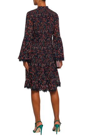 MIKAEL AGHAL Lace-trimmed pintucked floral-print georgette dress