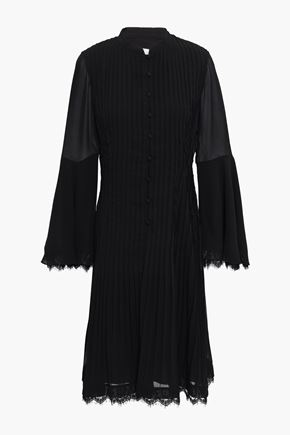MIKAEL AGHAL Lace-trimmed pintucked crepe dress