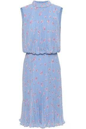MIKAEL AGHAL Floral-print plissé-chiffon dress