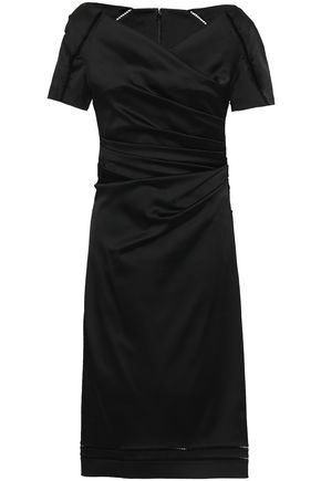TALBOT RUNHOF Open knit-trimmed ruched satin dress