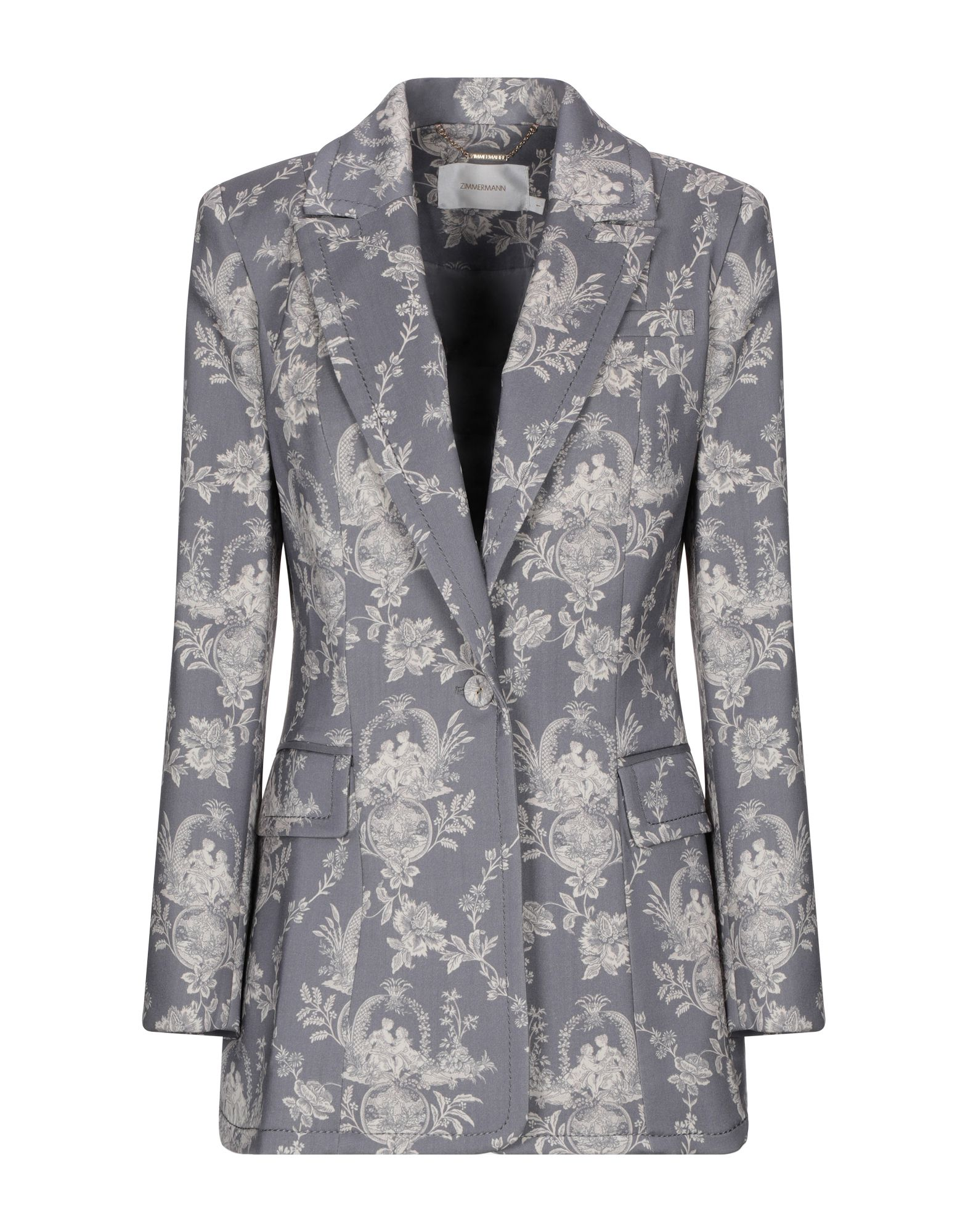 ZIMMERMANN Suit jackets. cool wool, no appliqués, floral design, multipockets, pocket with flap, single chest pocket, 1 button, lapel collar, single-breasted, long sleeves, fully lined, back split, stretch, single-breasted jacket. 89% Virgin Wool, 9% Polyamide, 2% Elastane