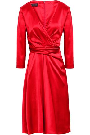 TALBOT RUNHOF Wrap-effect duchesse satin dress
