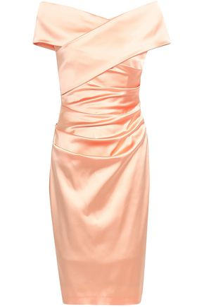 TALBOT RUNHOF Wrap-effect gathered duchesse-satin dress