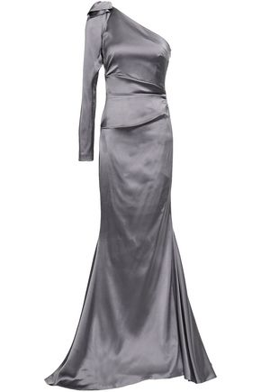 TALBOT RUNHOF One-shoulder ruched satin-crepe gown