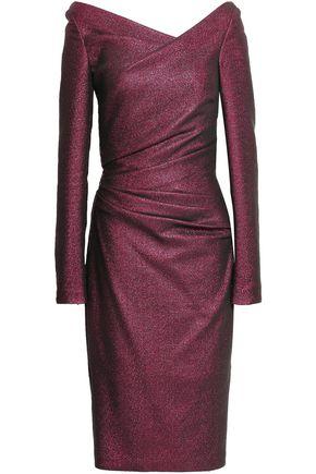 TALBOT RUNHOF Gathered metallic stretch-knit dress