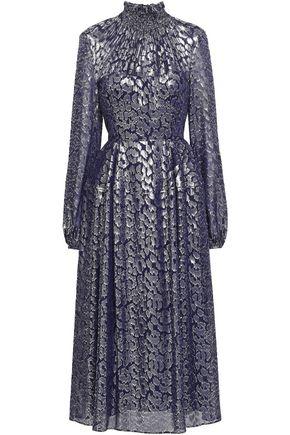 TALBOT RUNHOF Fil coupé metallic silk-blend midi dress