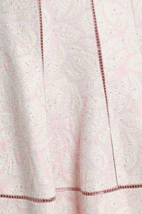 TALBOT RUNHOF Off-the-shoulder sequin-embellished floral-jacquard dress