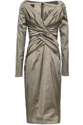 TALBOT RUNHOF Twist-front pleated taffeta dress