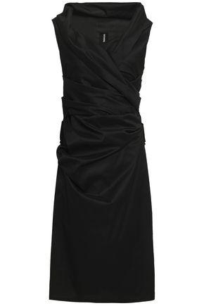 TALBOT RUNHOF Wrap-effect pleated taffeta dress