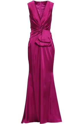 TALBOT RUNHOF Fluted twist-front satin gown