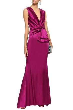 TALBOT RUNHOF Fluted twist-front satin gown
