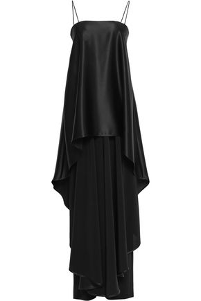 TALBOT RUNHOF Layered crepe-satin maxi dress