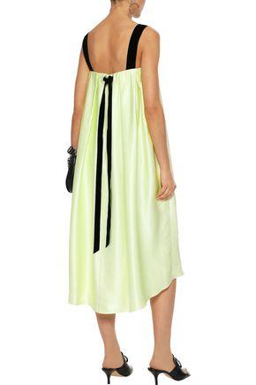 ADAM LIPPES Velvet-trimmed pleated silk-charmeuse midi dress