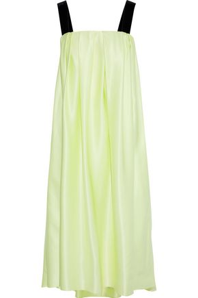 ADAM LIPPES Velvet-trimmed pleated silk-charmeuse midi dress