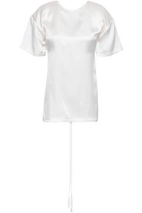 CHRISTOPHER ESBER Open-back grosgrain-trimmed silk-satin top