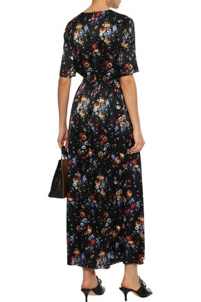 ADAM LIPPES Floral-print hammered-silk maxi dress