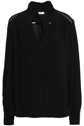 BA&SH Pussy-bow crochet-trimmed cady blouse